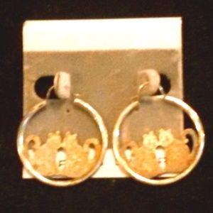 Sterling silver Cat Hoop Earrings